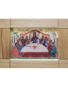 Икона на керамике, Тайная вечеря, оклад дуб 32*42