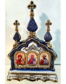 """Настольный киот """"Спаситель, Пресвятая Богородица, свт.Николай Чудотворец"""