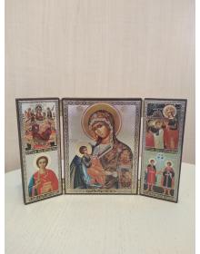 Складень деревяннный  с иконами Пресвятой Богородицы