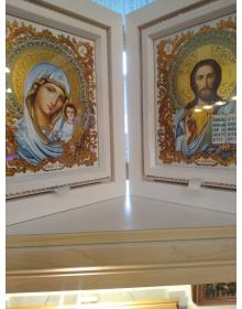 Складень деревяннный  Господь Вседержитель и Казанская икона Божьей Матери