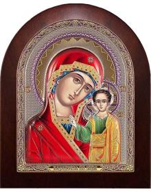 Казанская икона Божьей Матери (шелкография, серебро, позолота, эмаль)